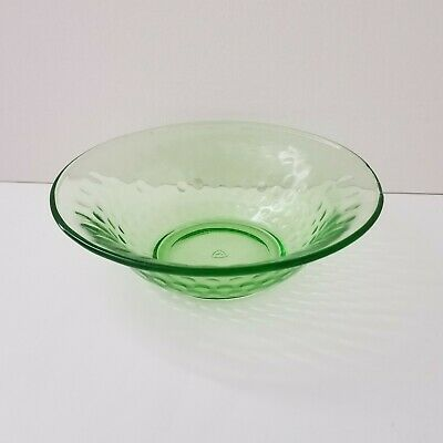 """Vintage Federal Green Depression Glass Thumbprint Bubbles Cereal Bowl 6"""""""
