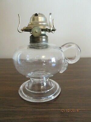 Antique Clear Glass Oil Finger Lamp, New Eagle Fitting