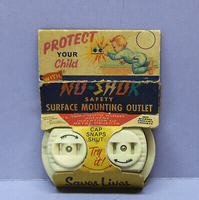 "⭐ Vintage Surface-mount ""No-Shok"" Safety Bakelite Duplex Outlet Receptacle Ivory"