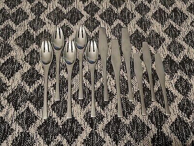 Mid Century Dansk Designs IHQ Odin Forks Knives 11 Pc Stainless Flatware Germany