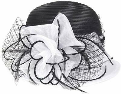 VECRY Women's Hat White Black One USA Fascinator Sweet Cute Floral  $35 #285