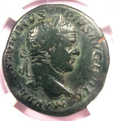 Ancient Roman Caracalla AE Sestertius Mars Victory Coin 212 AD - NGC Choice Fine