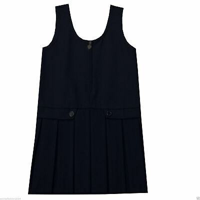 Girls Kids Children Stylish School Bib Pleated Pinafore Dungaree Uniform Dress