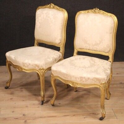 Pair of chairs furniture armchairs living room gold wood antique style Louis XV