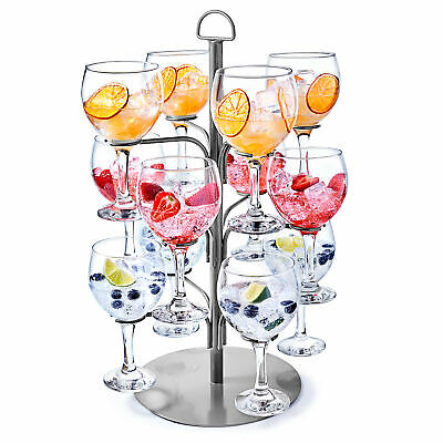 Silver Cocktail Tree - Cocktail Glass Display for 12 Glasses, Gin Tree