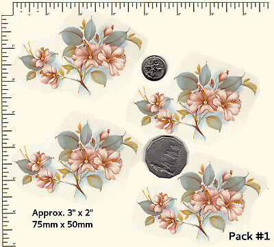 """4 x Waterslide ceramic decals Decoupage Flowers Approx 3"""" x 2"""" PD852"""