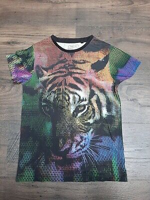 Boys Next Black Multi Colour Tiger Face T Shirt Age 7 Years