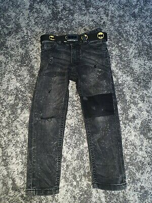 NEXT Boys Black ripped Jeans Super Skinny With Belt 4 years old