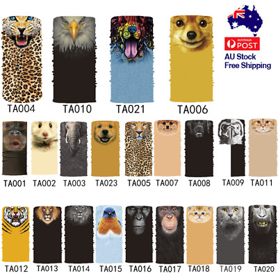 Bandana Face Mask Scarf Headwear Animal 3D Shield Cycling Ski Fishing Outdoor