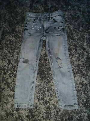 NEXT BOYS grey Ripped Super Skinny Jeans Size 4 Years