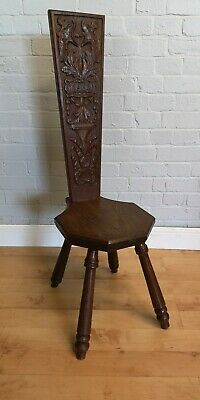 Antique / Gothic Carved Spinners Chair 1908
