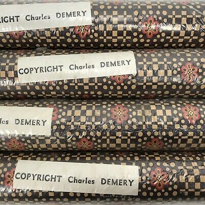 CHARLES DEMERY Wallpaper 4 Bolts 50s / 60s Brown Floral Pattern Vintage Retro
