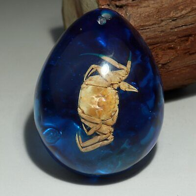 Collectable China Old Amber Internal Mosaic Crab Rare Delicate Decorate Pendant