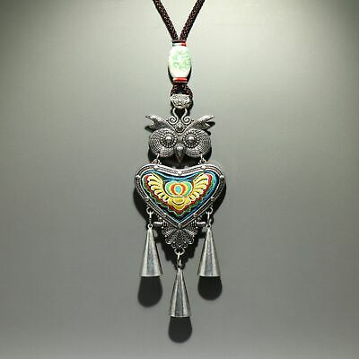 Collectable China Old Miao Silver & Embroider Hand-Carve Owl Bring Luck Necklace