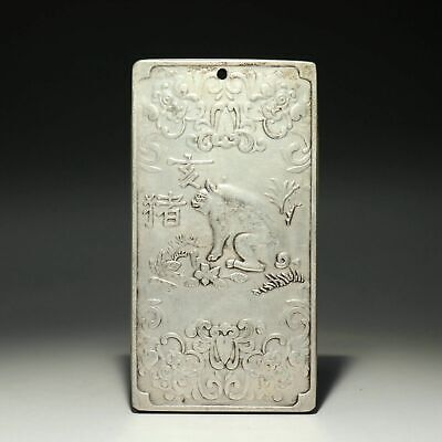 Collect China Old Miao Silver Hand-Carved Twelve Zodiac Pig Bring Luck Pendant