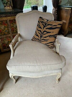 Superb Andrew Martin Oatmeal lined limed oak framed French fatueill armchair