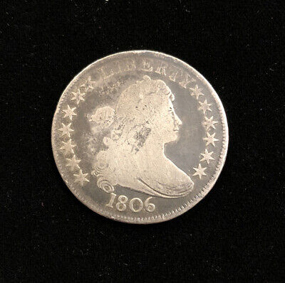 1806 50C Draped Bust Half Dollar Pointed 6, STEMS