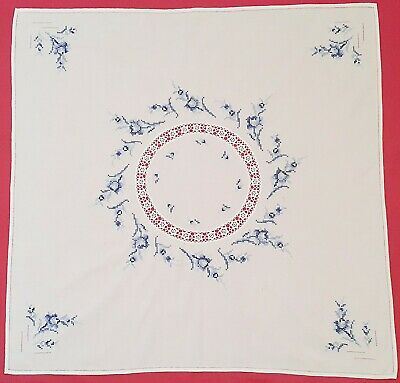 Vintage Floral Art Roses Cut Embroidery White Blue Cotton Square Tablecloth