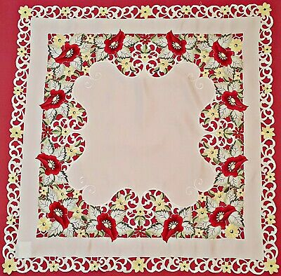 Vintage Floral Art Poppies Cut Embroidery White Red Green Square Tablecloth