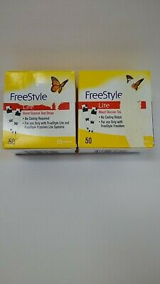 100 FreeStyle Lite Glucose Blood Test Strips Dents/Dings exp 07/2021 Ship Free!