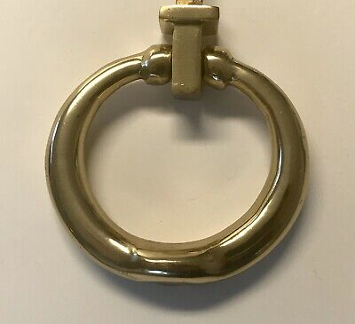 Vintage Solid Brass Heavy Round Shape Mid Century Door Knocker