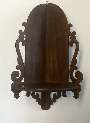 "Antique Carved Wood Victorian Wall One Shelf Fret Work 12"" For Religious Statue"