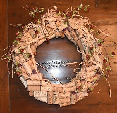 Solid high-end wood twisted wine cork wreath raffia, sparkling raspberries, leav