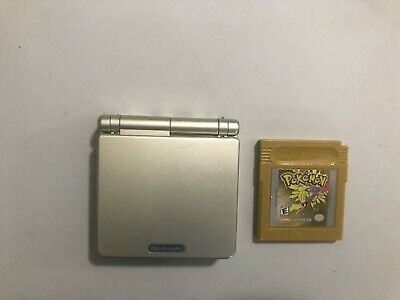 Nintendo Gameboy Advance SP AGS-001 Light Gold w/ Pokemon Gold TESTED rare color