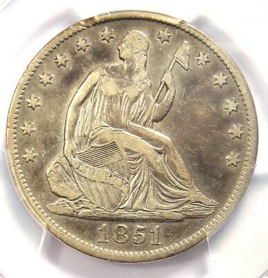 1851 Seated Liberty Half Dollar 50C - Certified PCGS Fine Details - Rare Date!