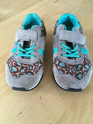 😺Clarks Girls Animal Print Suede Trainers Shoes Size 7F VGC😺