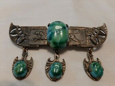 Antique Egyptian Revival Winged Scarab Pin/Brooch w 3 Scarab Drops