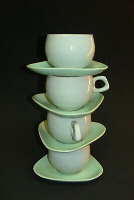 Four Vintage Atomic Age Mid Century Ceramic Cup Triangle Gray Green Saucer Set