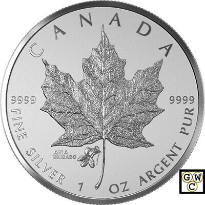 2015'The Violet-Chicago ANA Privy-Marked Maple Leaf $5 Fine Silver Coin(17412)