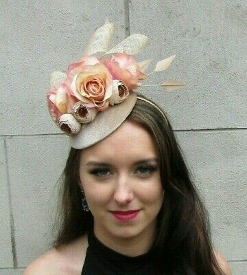 Beige Champagne Velvet Pink Edged Flower Feather Hat Fascinator Races Hair 9064