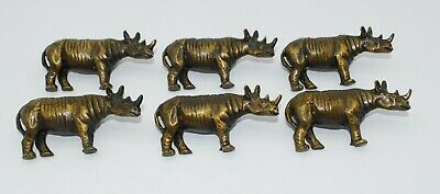 Rare 1974 Arthur Court Rhinoceros Bronze Napkin Holders - Lot of 6