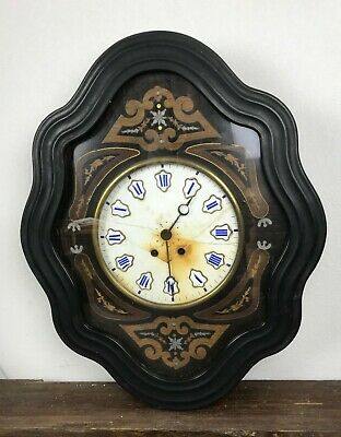 Antique Clock Wall Wooden Blackened Napoleon 3. Eye of Boeuf. 61,5 x 50 CM