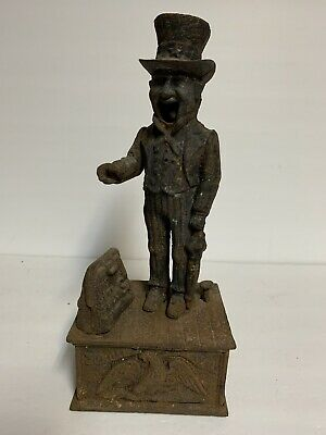 VTG Uncle Sam U.S. Cast Iron Metal Mechanical Bank ~ Repairs Parts Rusty