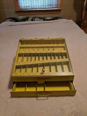 Vintage COLUMBIA  DRILL BIT COUNTER TOP DISPLAY  SHOW CASE W/DRAWER, Metal