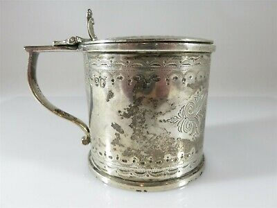 Rare Antique Sterling Silver Etched Mustard Pot 1877 by Robert Harper London