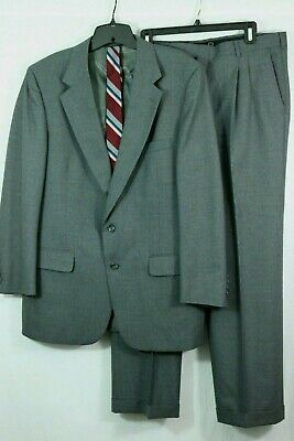 VTG BURBERRY'S 2pc Gray Wool Suit 46 L Jacket Pants Tie Jacobson's Pleated Front