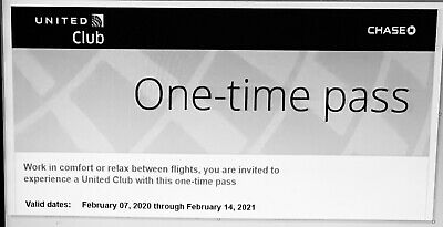 Two United Club One Time Passes Expire February 14 2021