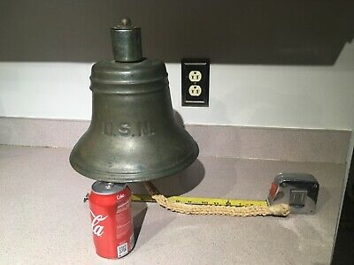 Old USN United States Navy Bronze Nickel Plated Nautical Ship Bell &Mounting Arm
