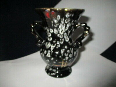 """Mid Century West German Pottery Cabinet Vase 4.75"""" White Pussy Willow On Black"""