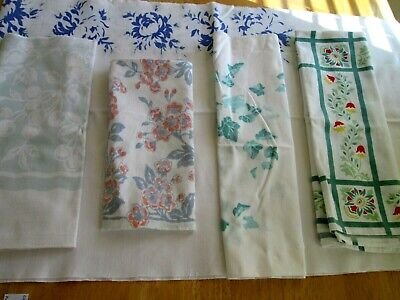 5 vintage cutter tablecloth pieces cotton linen faded