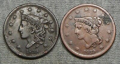 ✯Large Cent US Coin Penny Estate LOT✯Nice Braided Coronet☆Classic Draped Bust✯