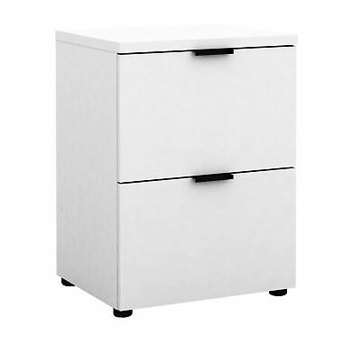 Rico 2 Drawers Filing Cabinet Office Home Files Storage Organiser - White