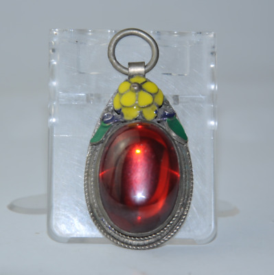 China old cloisonne Miao silver inlay natural red gem antique pendant gift /Aa01