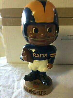 Los Angeles Rams Black Face Vintage Bobblehead Extremely Scarce ToesUp Gold Base