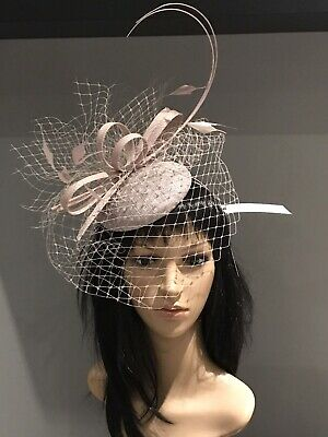 PETER BETTLEY Taupe WEDDING  DISC FASCINATOR Mother Of The Bride Hat OCCASION