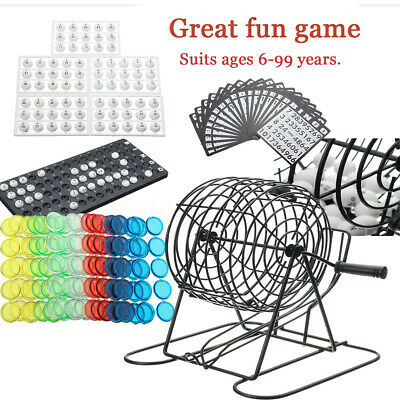 Traditional Bingo Lotto Lottery Family Party Game Set  Cage Balls Cards Fun